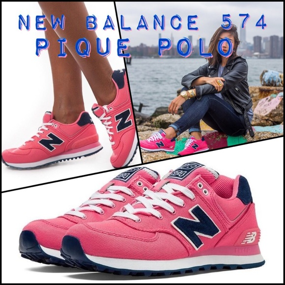 New Balance 574 pique polo pink navy street style